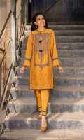 Shirt Dyed Embroidered Fine Lawn Shirt Front 1.15m Dyed Fine Lawn Shirt Back & Sleeves 1.85m Embroidered Neckline 1PC Color: Mustard Fabric: Fine Lawn  Trouser Dyed Cotton Trouser 2.5m Color: Mustard Fabric: Cotton