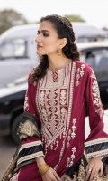 Shirt Dyed Embroidered Self Jacquard Shirt Panels 1.15m Dyed Self Jacquard Shirt Back & Sleeves 1.85m Embroidered Bunches 2PC Embroidered Patti 1PC Color: Maroon Fabric: Self Jacquard  Trouser Dyed Cotton Trouser 2.5m Color: Maroon Fabric: Cotton  Dupatta Yarn Dyed Jacquard Organza Dupatta 2.5m Color: Black and Golden Fabric: Yarn Dyed Jacquard Organza