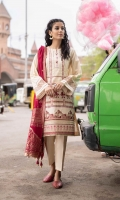 Shirt Dyed Embroidered Fine Lawn Shirt Front 1.15m Dyed Fine Lawn Shirt Back & Sleeves 1.85m Embroidered Border 1PC Color: Off White Fabric: Fine Lawn  Dupatta Dyed Extra Weft Jacquard Dupatta 2.5m Color: Hot Pink Fabric: Extra Weft Jacquard