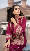 Shirt Dyed Embroidered Silky Lawn Shirt Center Panel 1PC Dyed Silky Lawn Shirt Back & Sleeves 2.7M Embroidered Border 1PC Color: Maroon Fabric: Silky Lawn  Trouser Dyed Cotton Trouser 2.5m Color: Maroon Fabric: Cotton  Dupatta Digital Printed Bemberg Tissue Dupatta 2.5m Color: Maroon Fabric: Bemberg Tissue Glaze