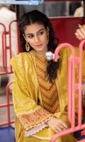 Shirt Dyed Extra Weft Jacquard Shirt 3.55m Embroidered Neckline 1PC Embroidered Border 1PC Embroidered Patti 1PC Color: Yellow Fabric: Extra Weft Jacquard  Trouser Dyed Cotton Trouser 2.5m Color: Yellow Fabric: Cotton  Dupatta Dyed Extra Weft Jacquard Dupatta 2.5m Color: Yellow Fabric: Extra Weft Jacquard