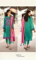 Shirt Dyed Embroidered Fine Lawn Shirt Front 1.15m Dyed Embroidered Fine Lawn Shirt Back 1.15m Dyed Fine Lawn Shirt Sleeves 0.7m Embroidered Border 2PC Embroidered Patti 1PC Color: Sea Green Fabric: Fine Lawn  Dupatta Dyed Extra Weft Jacquard Dupatta 2.5m Color: Pink Fabric: Extra Weft Jacquard