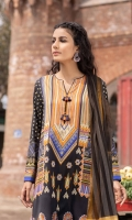 Shirt Printed & Embroidered Dobby Shirt Front 1.15m Printed Dobby Shirt Back & Sleeves 1.85m Color: Multi Fabric: Dobby  Trouser Dyed Cotton Trouser 2.5m Color: Black Fabric: Cotton  Dupatta Yarn Dyed Khaddi Net Dupatta 2.5m Color: Black and Yellow Fabric: Khaddi Net