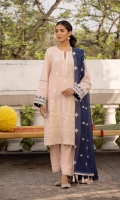Shirt Dyed Embroidered Dobby Shirt Front 1.15m Dyed Dobby Shirt Back 1.15m Dyed Dobby Shirt Sleeves 0.7m Embroidered Border 1PC Color: Light Pink Fabric: Dobby  Trouser Dyed Cotton Trouser 2.5m Color: Light Pink Fabric: Cotton  Dupatta Dyed Embroidered Blended Karandi Dupatta 2.5m Color: Blue Fabric: Blended Karandi