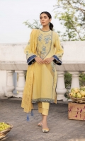 Shirt Dyed Embroidered Extra Weft Jacquard Shirt Front 1.15m Dyed Extra Weft Jacquard Shirt Back 1.15m Dyed Embroidered Extra Weft Jacquard Shirt Sleeves 0.7m Embroidered Pockets 2PC Embroidered Border 1PC Color: Yellow Fabric: Extra Weft Jacquard  Dupatta Dyed Extra Weft Jacquard Dupatta 2.5m Color: Yellow Fabric: Extra Weft Jacquard