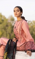 Shirt Dyed Embroidered Silky Lawn Shirt Front Center Panel 1PC Dyed Silky Lawn Shirt Back & Sleeves 1.85m Embroidered Border 1PC Embroidered Patti 1PC Color: Tea Pink Fabric: Silky Lawn  Trouser Dyed Cotton Trouser 2.5m Color: Tea Pink Fabric: Cotton  Dupatta Digital Printed Bemberg Tissue Glaze Dupatta 2.5m Color: Multi Fabric: Bemberg Tissue Glaze