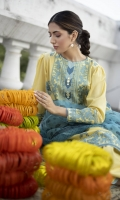 Shirt Dyed Embroidered Silky Lawn Shirt Front 1.15m Dyed Silky Lawn Shirt Back & Sleeves 1.85m Embroidered Neckline 1PC Embroidered Border 2PC Color: Yellow Fabric: Silky Lawn  Trouser Dyed Cotton Trouser 2.5m Color: Yellow Fabric: Cotton  Dupatta Digital Printed Blended Organza Dupatta 2.5m Color: Aqua Fabric: Blended Organza