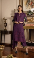 Shirt Digital Printed & Embroidered Fine Lawn Shirt Front 1.15m Digital Printed Fine Lawn Shirt Back & Sleeves 1.85m Embroidered Border 1PC Color: Purple Fabric: Fine Lawn  Trouser Dyed Cotton Trouser 2.5m Color: Purple Fabric: Cotton  Dupatta Dyed Embroidered Bemberg Crinkle Chiffon Dupatta 2.5m Color: Purple Fabric: Bemberg Crinkle Chiffon