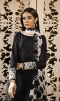 Shirt Dyed Embroidered Fine Lawn Shirt Front 1.15m Dyed Fine Lawn Shirt Back & Sleeves 1.85m Embroidered Border 1PC Embroidered Patti 1PC Color: Black Fabric: Fine Lawn  Trouser Dyed Cotton Trouser 2.5m Color: Black Fabric: Cotton  Dupatta Digital Printed & Embroidered Viscose Chiffon Dupatta 2.5m Color: Black and White Fabric: Viscose Chiffon