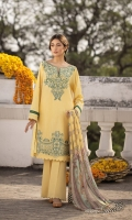 Shirt Dyed Embroidered Fine Lawn Shirt Front 1.15m Dyed Fine Lawn Shirt Back 1.15m Dyed Embroidered Fine Lawn Shirt Sleeves 0.7m Color: Yellow Fabric: Fine Lawn  Trouser Dyed Cotton Trouser 2.5m Color: Yellow Fabric: Cotton  Dupatta Digital Printed Viscose Chiffon Dupatta 2.5m Color: Multi Fabric: Viscose Chiffon