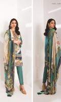 Digital Printed Blended Grip Silk Shirt Dyed Embroidered Poly Satin Neckline Dyed Embroidered Poly Satin Border Digital Printed Viscose Chiffon Dupatta Dyed Viscose Raw Silk Trouser