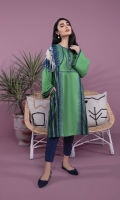 Printed & Embroidered Front, Printed Back, Full Sleeves, Round Neck with Slit