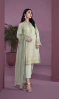 Details: Printed & Embroidered Front, Printed Back, Full Sleeves with Embroidered Border, Y Neckline Color: Paistasho Green Fabric: Zari Cotton  Cigarette Pants Color: Paistasho Green Fabric: Cotton  Slub Net Dupatta Color: Paistasho Green