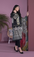 Details: Printed & Embroidered Front, Printed Back, Full Sleeves, Band Neck with Slit Color: Black Fabric: Textured Lawn  Blended Chiffon Dupatta Color: Black