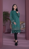 Embroidered Front, Plain Back, Full Sleeves with Embroidery, Band Neck with Slit