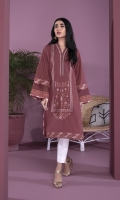 Embroidered Front, Plain Back, Full Sleeves with Embroidered Border, Y Neckline