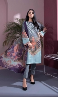 Details: Printed & Embroidered Front, Printed Back, Full Sleeves, Round Neck with Slit Color: Grey Fabric: Textured Lawn  Cigarette Pants Color: Grey Fabric: Cotton  Blended Chiffon Dupatta Color: Grey