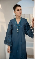 Shirt Dyed Embroidered Cotton Shirt Front 1.15 m Dyed Cotton Shirt Back 1.15 m Dyed Embroidered Cotton Shirt Sleeves 0.7 m Color: Teal Fabric: Cotton  Trouser Dyed Cotton Trouser 2.5 m Color: Teal Fabric: Cotton