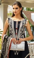 Package includes: -Embroidered front -Embroidered sleeves -Digital print back -Embroidered net dupata -Embroidered border for dupata -Dyed trousers