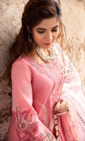 SHIRT  EMBROIDERED SHIRT FRONT (LAWN) 1.15M  EMBROIDERED SLEEVES ON FABRIC (LAWN) 0.65M  DYED SHIRT BACK (LAWN) 1.15M  EMBROIDERED SIDE EXTENSIONS (LAWN) 1.00M  EMBROIDERED SLEEVE MOTIF (ORGANZA) 2 PIECES  EMBROIDERED SLEEVES BORDER (ORGANZA) 1.00M  EMBROIDERED FRONT HEM BORDER (ORGANZA) 1 PIECE  EMBROIDERED NECKLINE (SILK) 1 PIECE   TROUSER DYED TROUSER (LAWN) 2.50M     DUPATTA FOIL PRINTED OMBRE DYED DUPATTA (ORGANZA) 2.50M