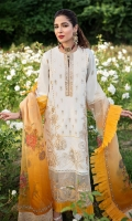 SHIRT  EMBROIDERED SHIRT FRONT (LAWN) 1.15M  EMBROIDERED SLEEVES ON FABRIC (LAWN) 0.65M  EMBROIDERED SHIRT BACK (LAWN) 1.15M  EMBROIDERED NECKLINE (SILK) 1PIECE  EMBROIDERED FRONT HEM BORDER (ORGANZA) 1.00M  EMBROIDERED SLEEVES BORDER (ORGANZA) 1.00M     TROUSER DYED TROUSER (LAWN) 2.50M     DUPATTA PRINTED DUPATTA (ORGANZA) 2.50M  EMBROIDERED DUPATTA PALLU (ORGANZA) 86 INCHES