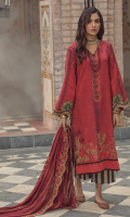 Embroidered front on digital printed cutail  Embroidered border on organza for front  Embroidered border on organza for back  Digital printed sleeves  Digital printed back  Digital printed trouser  Embroidered pashmina shawl