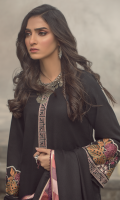 Embroidered front on khaddar karandi  Embroidered neck patti on organza  Embroidered sleeves on khaddar karandi  Embroidered border on organza for back  Embroidered butterflies on organza  Dyed khaddar karandi trouser with two embroidered butterfly patch  Embroidered pashmina shawl