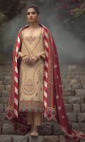 Embroidered front on digital printed cutail  Embroidered border on organza for front and back  Embroidered sleeves on digital printed cutail  Digital printed back  Digital printed trouser  Embroidered pashmina shawl