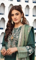Embroidered swiss voile for front.  Dyed plain swiss voile for back.  Embroidered organza border for front & back.  Embroidered swiss voile for sleeves.  Embroidered organza jaal for sleeves & trousers.  Embroidered chiffon for dupatta.  Embroidered organza border for dupatta pallu.  Dyed cotton for trousers.