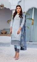 Embroidered swiss voile for front.  Dyed plain swiss voile for back.  Embroidered organza border for front.  Embroidered organza border for front & back.  Embroidered swiss voile for sleeves.  Embroidered chiffon for dupatta.  Dyed cotton for trousers.