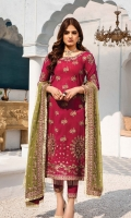 Embroidered swiss voile for front.  Embroidered swiss voile for back.  Embroidered organza border for front & back.  Embroidered swiss voile for sleeves.  Embroidered chiffon for dupatta.  Dyed cotton for trousers.  Embroidered organza border for trousers.
