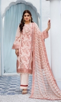 Embroidered swiss voile for front.  Dyed plain swiss voile for back.  Embroidered organza motifs for front & back side.  Embroidered organza border for front, back & sleeves.  Embroidered swiss voile for sleeves.  Embroidered chiffon for dupatta.  Dyed cotton for trousers.