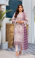 Embroidered swiss voile for front.  Dyed plain swiss voile for back.  Embroidered organza border for front & back.  Embroidered swiss voile for sleeves.  Embroidered chiffon for dupatta.  Dyed cotton for trousers.