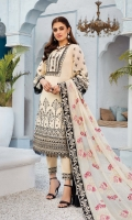 Embroidered swiss voile for front.  Dyed plain swiss voile for back.  Embroidered organza border for front & back.  Embroidered swiss voile for sleeves.  Embroidered chiffon for dupatta.  Embroidered organza border for dupatta.  Dyed cotton for trousers.  Embroidered organza border for trousers.