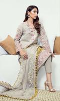 Embroidered karandi front  Embroidered border on back  Embroidered karandi sleeves  Embroidered chiffon dupatta  Karandi trouser