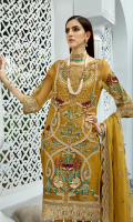 Embroidered organza with handmade embellishment for front: 1 yard Embroidered organza border for front, sleeves & trousers: 2.75 yards Embroidered organza for back: 1 yard Embroidered organza border for back: 1 yard Embroidered organza for sleeves: 0.75 yard Embroidered chiffon for dupatta: 2.75 yards Dyed raw silk for trousers: 2.50 yards