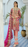 Embroidered chiffon for front: 1 yard Embroidered organza with stones embellishment for front neck patch: 1pc Embroidered organza patches for front: 3pcs Embroidered chiffon for back: 1 yard Embroidered chiffon for sleeves: 0.75 yard Embroidered organza motifs for sleeves: 2 pcs Embroidered chiffon for dupatta: 2.75 yards Dyed raw silk for trousers: 2.50 yard