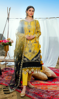 Embroidered lawn for front.  Embroidered organza border for front.  Dyed plain lawn for back.  Embroidered organza border for front & back.  Embroidered lawn for sleeves.  Embroidered organza for dupatta.  Dyed cotton for trousers.