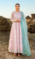 Embroidered zarri lawn for front yoke.  Dyed plain zarri lawn for back yoke.  Embroidered zarri lawn panels for frock.  Embroidered organza border for frock.  Embroidered organza for sleeves.  Digital printed organza for dupatta.  Screen printed cotton for trousers.