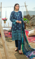 Embroidered lawn for front.  Dyed plain lawn for back.  Embroidered lawn for sleeves.  Digital printed silk for dupatta.  Dyed cotton for trousers.