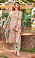 Embroidered zarri lawn for front.  Embroidered zarri lawn for back.  Embroidered organza border 1 for front & back.  Embroidered organza border 2 for front & back.  Embroidered zarri lawn for sleeves.  Digital printed silk for dupatta.  Printed cotton for trousers.