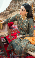 Embroidered lawn for front.  Digital printed lawn for back.  Embroidered organza border for front & back.  Embroidered lawn for sleeves.  Embroidered organza border for sleeves.  Digital printed silk for dupatta.  Gold printed cotton for trousers.