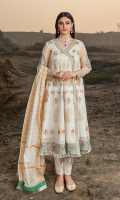 Embroidered khaddi zarri lawn panels for front.  Embroidered organza 1inches border for front.  Dyed khaddi zarri lawn for back.  Embroidered organza border for front & back.  Embroidered organza for sleeves.  Zarri jacquard for dupatta.  Dyed cotton for trousers.