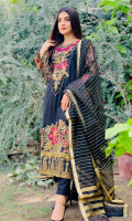 Dyed jacquard for front & back.  Embroidered organza for front neck patch.  Embroidered organza border for front.  Printed silk border for front & back.  Embroidered organza for sleeves.  Khaadi organza for dupatta.  Embroidered organza border for dupatta pallu.  Dyed cotton for trousers.