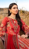 Embroidered lawn for front.  Dyed lawn for back.  Embroidered organza border for front & back.  Embroidered lawn for sleeves.  Digital printed silk border for sleeves & trousers.  Digital printed silk for dupatta.  Dyed cotton for trousers.