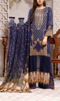 3.0 Meter Digital Printed Lawn Shirt With Neck Embroidered. 2.5 Meter Digital Printed Lawn Dupatta . 2.5 Meter Dyed Trouser