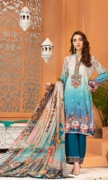 » SEQUIN EMBROIDERED DIGITAL PRINTED LINEN FRONT » DIGITAL PRINTED LINEN BACK AND SLEEVES » ORGANZA EMBROIDERED PATCH FOR NECKLINE » DIGITAL PRINTED CHIFFON DUPATTA » DYED LINEN TROUSER