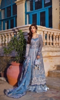 Front panels 40 inches 2 pc  Front body 1 pc  Back body 1 pc  Sleeves 1.5 yard  Back panels 40 inches 2 pc  Dupatta pallus 1 pc  Dupatta 2.75 yards  Dyed inner slip ( bamber cotton silk) 2.75 yards  Dyed trouser ( bamber Rawsilk ) 2.75 yards
