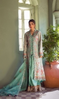 Sleeves 1.5 yards  Sleeves border 52 inches  Dupatta 2.75 yards  Dupatta border 8 yards  Shirt Back45 inches 1 pc  Front panels 45 inches 2 pc  Front and back borders 2.5 yards  Front and inner slip border 4.5 yards  Dyed inner slip ( bamber cotton silk ) 2.75 yards with embroidery neckline Trouser