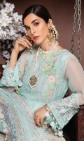 Embroidered and Hand embellished chiffon shirt 3 Yards Embroidered chiffon Dupatta with Sequins 2.65 Yards Embroidered front Border with Sequins on Tissue 28 Inches Embroidered back Border with Sequins on Tissue 28 Inches PK Raw Silk dyed Trouser 2.5 Yards